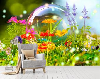 """Фотообои на стену цветы """"Цветы, мыльный пузырь, лето"""""""