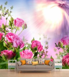 """Фотообои """"Розы розовые, блики, лучи"""""""