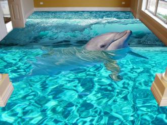 """Обои для пола """"Дельфин, волна"""". Наклейка, печать для наливного пола."""