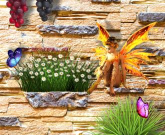 """Фотообои """"Фея, цветы, стена"""""""