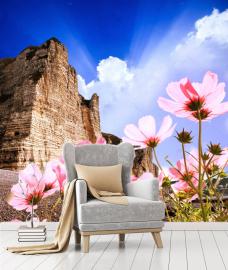 """Фотообои на стену цветы """"Гора, розовые цветы, небо"""""""