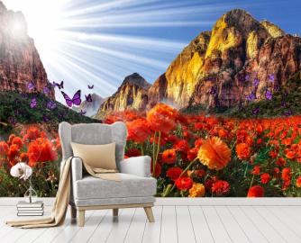 """Фотообои на стену цветы """"Красные маки, горы, небо, солнце"""""""