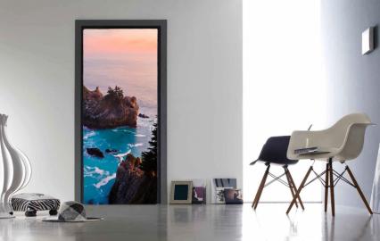 """Обои с рисунком на дверь """"Закат, берег"""". Дизайн двери, комнаты в интерьере"""