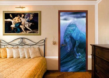 """Обои с рисунком на дверь """"Конь, вода"""". Дизайн двери, комнаты в интерьере"""