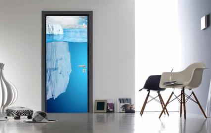 """Обои с рисунком на дверь """"Айсберг, вода"""". Дизайн двери, комнаты в интерьере"""