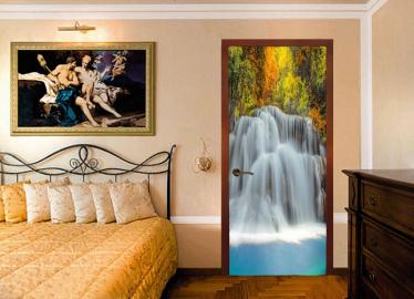 """Обои с рисунком на дверь """"Водопад"""". Дизайн двери, комнаты в интерьере"""