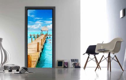 """Обои с рисунком на дверь Деревянный мост, океан, побережье"""". Дизайн двери, комнаты в интерьере"""