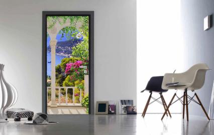 """Обои с рисунком на дверь """"Балкон, цветы, море"""". Дизайн двери,комнаты в интерьере"""