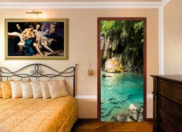 """Обои с рисунком на дверь """"Лес, пруд, рыбы"""". Дизайн двери,комнаты в интерьере"""