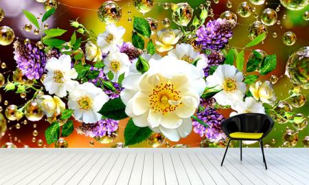 """Фотообои на стену """"Белые цветы, капельки воды"""""""