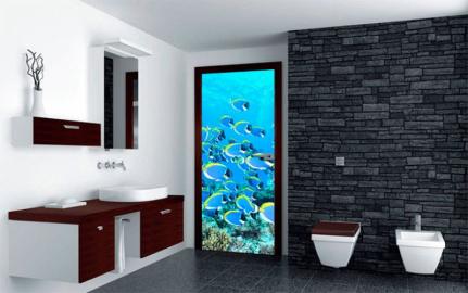 Обои с рисунком на дверь в ванную комнату РЫБКИ