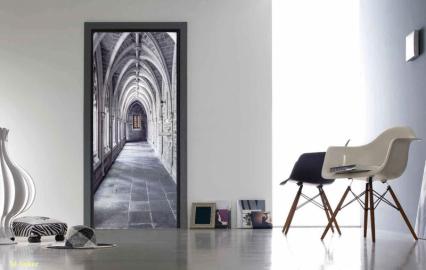 Фотообои на двери с эффектом 3д КАМЕННЫЙ КОРИДОР