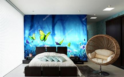 Фотообои на стену НОЧНОЙ ЛЕС ЦВЕТЫ ЗЕЛЕНЫЕ БАБОЧКИ