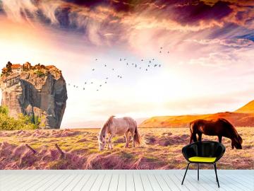 Фотообои на стену ЛОШАДИ ДОМ НА СКАЛЕ в интерьере №1