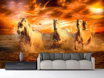 Фотообои на стену БЕЛЫЕ ЛОШАДИ КУПАЮТСЯ КРАСНЫЙ ЗАКАТ в интерьере №3