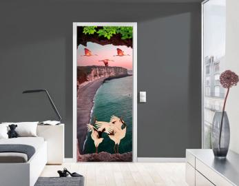 Обои с рисунком на дверь ЗАЛИВ ГОРЫ ЖУРАВЛИ. Дизайн двери комнаты в интерьере