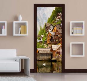 Обои с рисунком на дверь ГОРОД НА ГОРЕ Дизайн двери комнаты в интерьере