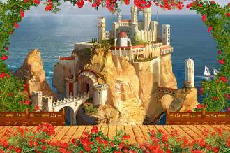 """Фотообои  """"Сказочный домик в горах, розы"""" купить"""