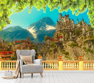 """Фотообои Вид с Террасы """"Замок, горы, розы, еловые ветки"""" купить"""