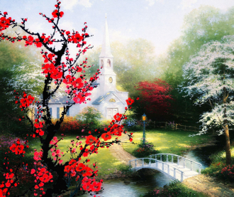 "Фотообои Фреска ""Белый храм, сакура"""