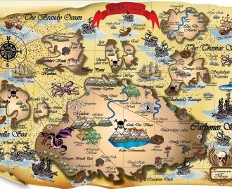 "Столешница с рисунком ""Карта Пиратов"""