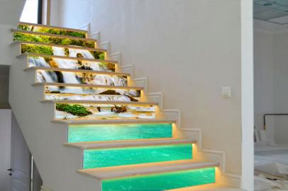 Фотообои дизайн ВОДОПАД на лестнице