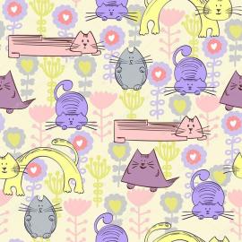 Напольное покрытие с рисунком СИРЕНЕВЫЕ КОТЫ