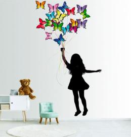Фотообои детские наклейки ДЕВОЧКА И БАБОЧКИ