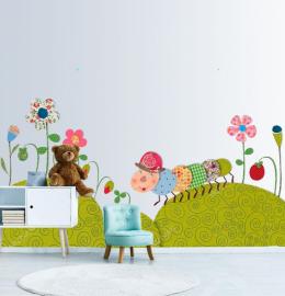 Фотообои детские наклейки ГУСЕНИЦА ЦВЕТЫ ПОЛЯНА