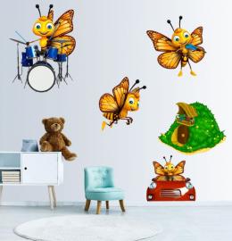 Фотообои детские наклейки ПЧЕЛКИ МУЗЫКАНТЫ