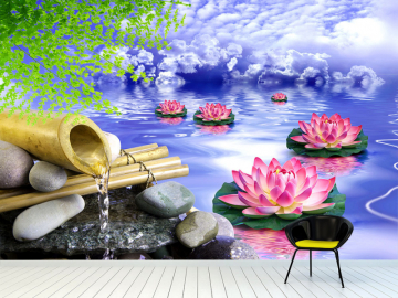 "Фотообои на стену ""Лотосы, вода, облака, камни, бамбук"""