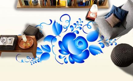 Напольное покрытие с рисунком Обои, Линолеум Цветок Гжель