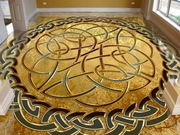 Напольное покрытие с орнаментом КЕЛЬТСКИЙ УЗЕЛ ЗАЩИТЫ золото