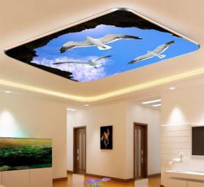 Фотообои на потолок ЧАЙКИ СКАЛЫ ГОЛУБОЕ НЕБО