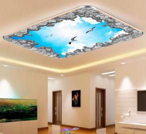 Фотообои на потолок ЧАЙКИ НЕБО СОЛНЦЕ ОБЛАКА КИРПИЧНАЯ РАМКА
