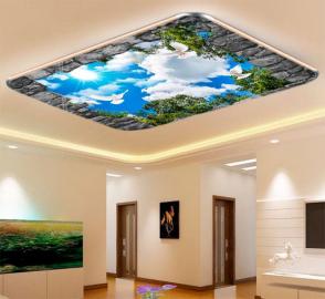 Фотообои на потолок ГОЛУБИ МАКУШКИ ДЕРЕВЬЕВ ВГОЛУБОЕ НЕБО