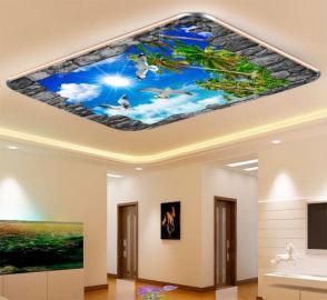 Фотообои на потолок МОРСКОЕ НЕБО ЧАЙКИ МАКУШКИ ПАЛЬМ