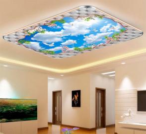 Фотообои на потолок ГОЛУБОЕ НЕБО БЕЛЫЕ ПТИЦЫ ЦВЕТЫ САКУРЫ