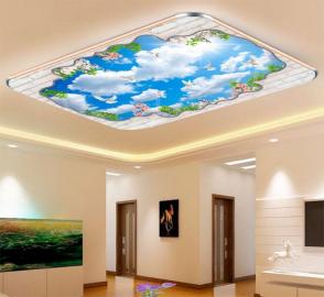 Фотообои на потолок ГОЛУБОЕ НЕБО ПТИЦЫ ЦВЕТЫ САКУРЫ