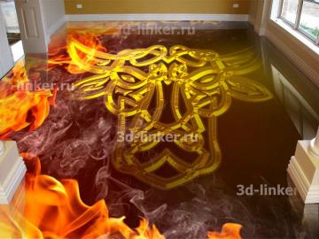 Напольное покрытие с орнаментом БЫКА Огонь Кельтский узел