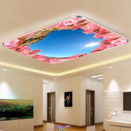 Фотообои на потолок РОЗОВЫЕ РОЗЫ ГОРЫ НЕБО