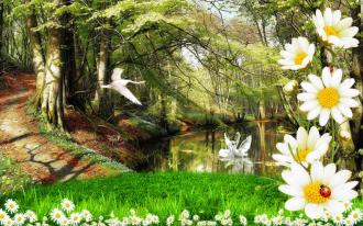 "Фотообои Фреска ""Озеро в лесу, лебеди, ромашки"""