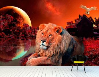 """Фотообои на стену животные """"Лев, ночь, сова, луна"""""""