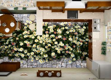 Напольное покрытие с рисунком Обои, Линолеум РОМАШКИ ТРЕЩИНА БРУСЧАТКА на кухню