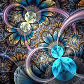 """3d обои для пола """"Бабочки, круги, голубой"""" купить в интерьере №3"""