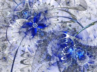 Линолеум с необычным рисунком СИНИЕ ЦВЕТЫ УЗОРЫ купить
