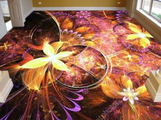 Линолеум с  необычным рисунком ЖЕЛТЫЕ ЦВЕТЫ КРАСНЫЙ ПОЛ купить