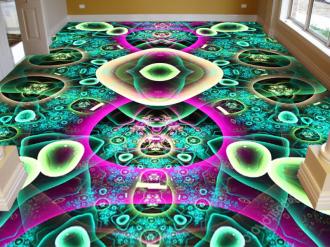 """Линолеум с необычным рисунком """"Узоры на зеленом фоне"""" купить"""