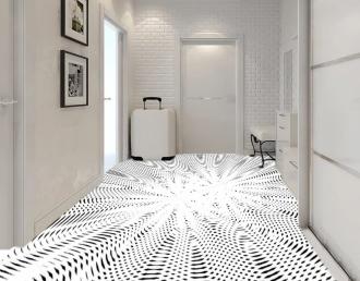 """Линолеум с необычным рисунком """"Геометрический,оптическая иллюзия, черно-белый"""" №1009 купить"""
