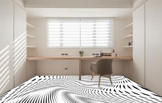"""Линолеум с необычным рисунком """"Геометрический,оптическая иллюзия, черно-белый"""" №1010 купить"""